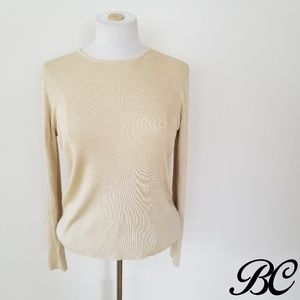 Ann Taylor Top Sweater All Silk Gold Beige Fitted